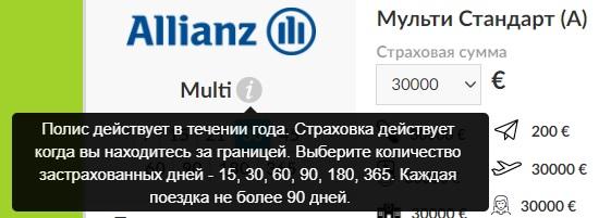 полис Allianz для многократных поездок
