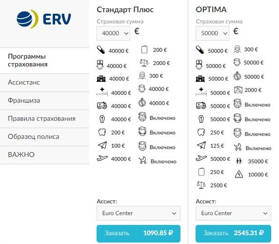 страховка ERV для Кипра
