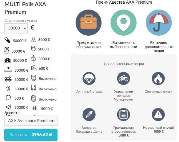 годовая страховка Polis AXA Premium