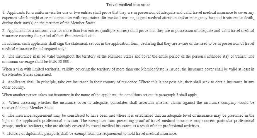 требования к страховке для Шенгенской визы