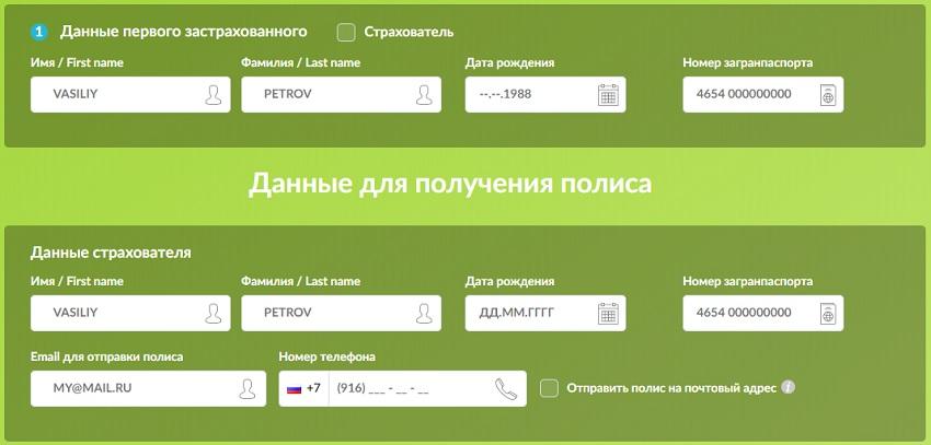 указание данных паспорта