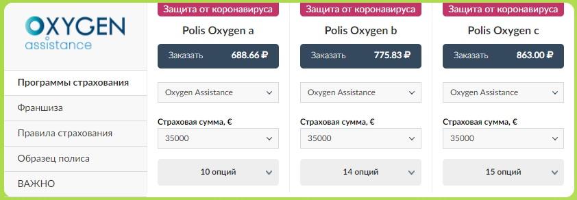 страховка Polis Oxygen для Египта с покрытием коронавируса