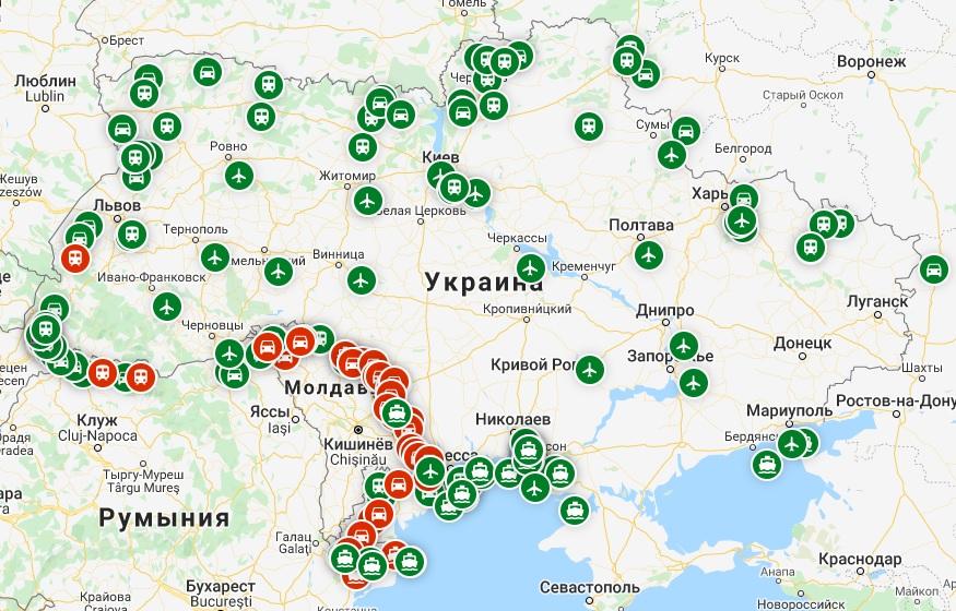 карта погранпунктов Украины
